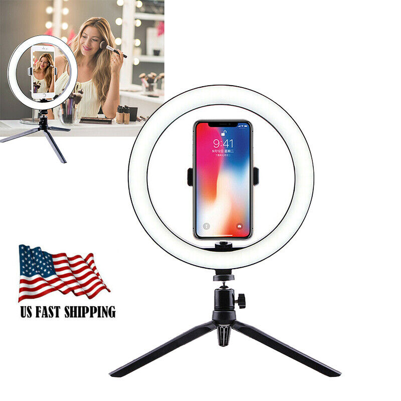 10in LED Ring Light Stand For Phone Selfie Makeup Photography Video Live Stream