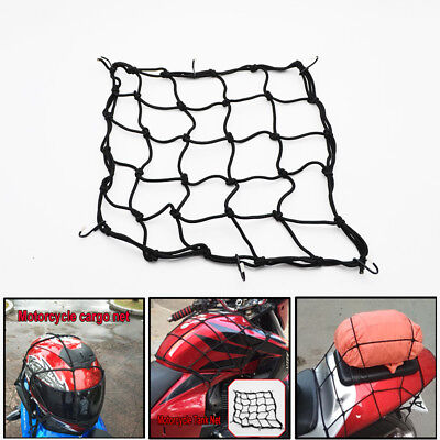 Black Motorcycle Bike ATV Bungee Tank Helmet Web Cords Mesh Cargo Net Hooks 16""