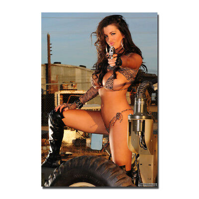 Hot Sexy Model Girl with Guns Silk Art poster Print 13x20 32x48 inch - Girl Hot Movies