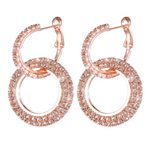 Jewellery - 925 Silver Rose Gold Crystal Round Hoop Earrings Womens Jewellery Wedding Gift