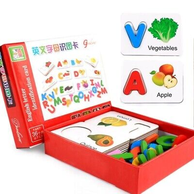 Toys Puzzle Education Baby Learning Abc Alphabet Letter Cards  Fruit Vegetables