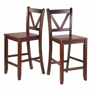 V-Back Bar Chairs COUNTER STOOLS, 24-Inch, Walnut, Winsome Wood