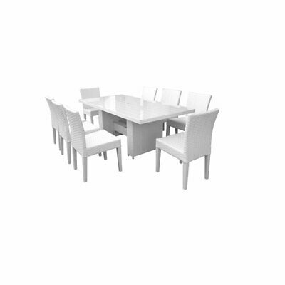 Monaco Rectangular Outdoor Patio Dining Table with 8 Armless
