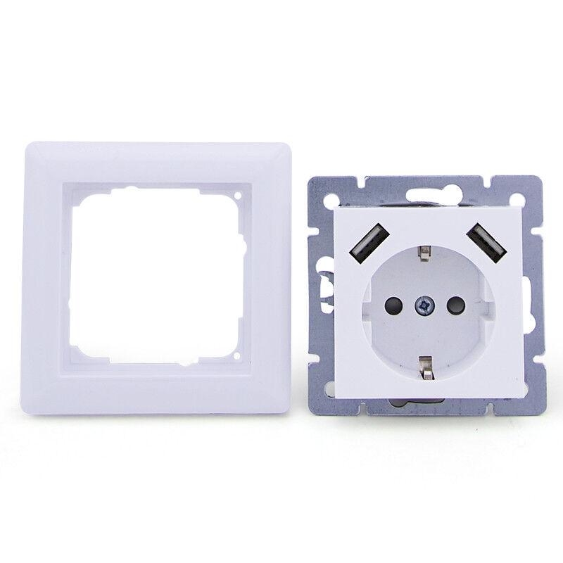 230 V Schuko Steckdose Unterputz 2 x USB Ladegeräte passend für Gira 55 Weiß