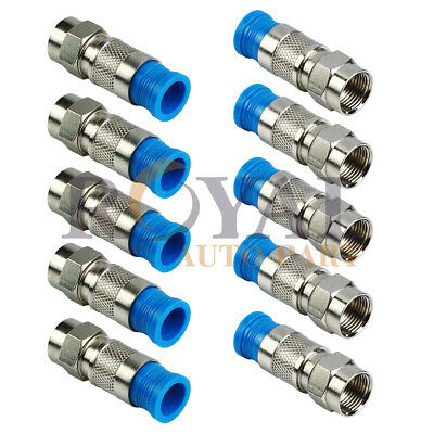 10 Pack Lot - F-Type Compression Connector Male Plug RG6 Quad Shield Coax Cable Compression Male F-type Connector