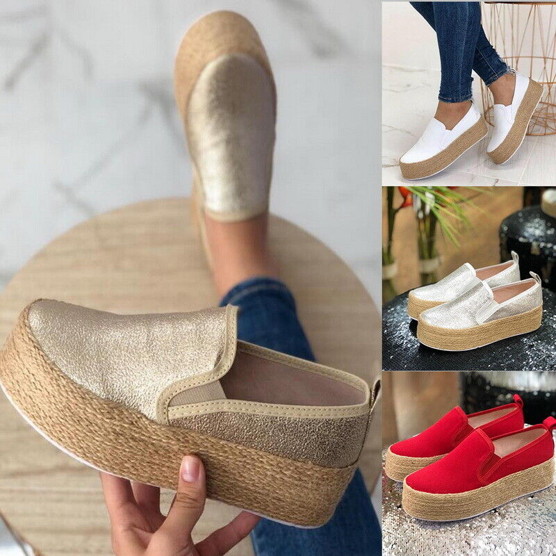 Womens Casual Canvas Slip On Platform Trainers Sneaker Pumps Flats Loafers Shoes