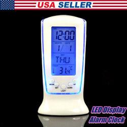 LED Alarm Clock Calendar Thermometer Digital with Blue Backlight Desk Clock