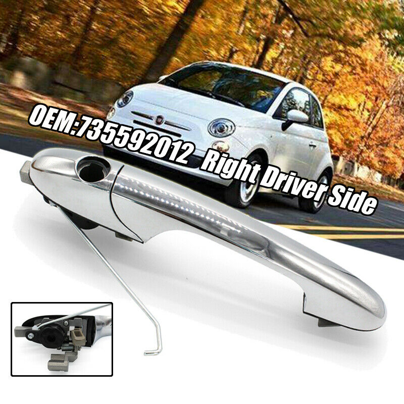 Right Driver Side Chrome Outer Door Handle OEM 735592012 For Genuine Fiat 500