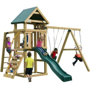 Module - Structure de jeu en bois - Glissade - Balançoire