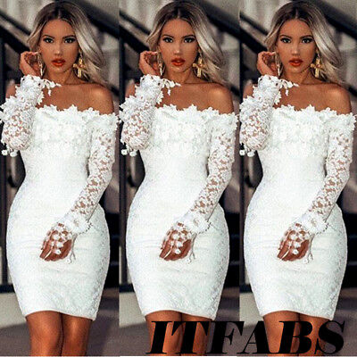Women's Off Shoulder Long Sleeve Bodycon Bridesmaid Party Evening Cocktail Dress Bridesmaid Womens Long Sleeve