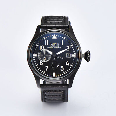 47mm Parnis Power Reserve Automatic Mechanical Men Casual Wa