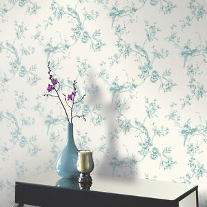 Arthouse CHINOISE Flower Floral Bird Leaf Trail Wallpaper - Teal / Cream 425003