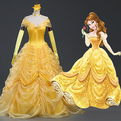 Beauty and the Beast Belle Disney Cosplay Kostüm Abend-kleid lang long Ball (Belle Disney Kostüm)