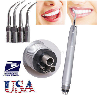 Dental Ultrasonic Air Perio Scaler Handpiece Hygienist 4-holes With 3 Tips -usa