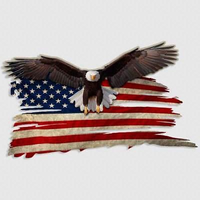Bald Eagle USA American Flag Sticker Car Truck Window Decal Gun Safe Cooler Yeti