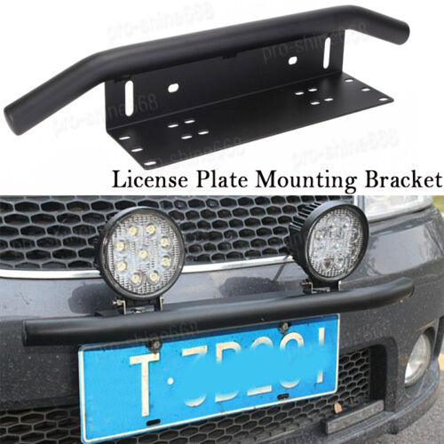 LEDUR Led Light Bar Mounting Bracket Front License Plate Holder with Wiring Harness 1 Lead 16 WAG for Off-Road Boat ATV SUV Truck Jeep Wrangler YJ Cherokee XJ