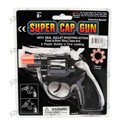 Cap Gun Pistol (8 Ring Shot Cap Gun Police Series Pistol Revolver Black New Toy Replica New)