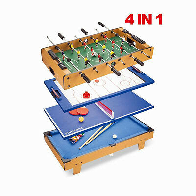 4 IN 1 Multi Games Table Play Set Air Hockey Tennis Football Pool Table Billiard