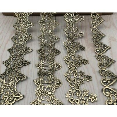 Vintage Metallic Trim (Victorian Antique Metallic Gold Embroidered Lace Trim Wedding Embellish Vintage)