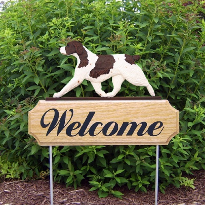 Brittany Spaniel Wood Welcome Outdoor Sign Liver