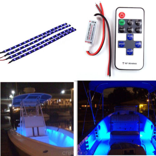 12V Wireless Remote Control LED Light Strip Blue 30CM for Car Boat Motorcycle