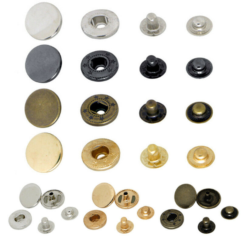 Healifty 50 Sets Sew-on Snap Buttons Metal Snaps Fasteners Press Studs Buttons for Sewing DIY Craft Jewelry Charms 17mm-Gold