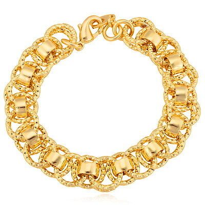 (Chunky Bracelet 18K Gold Plated Link Chain 21CM Length)