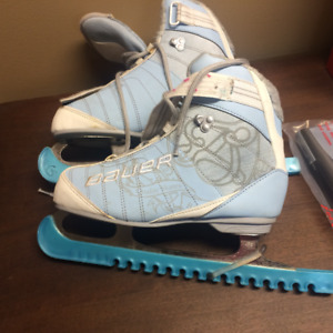 Girls  Ice Skates Bauer Blue with velcro straps