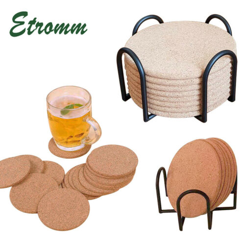 Set Of 16 Cork Coasters With Holder Drink Tea Coffee Absorbent Round Cup Pad Mat