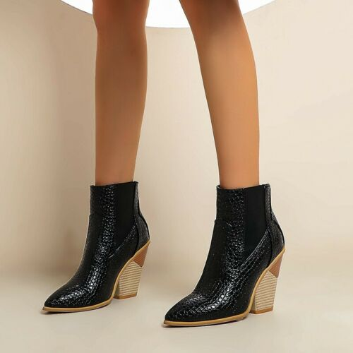 Details about  /Women/'s Chelsea Western Cowboy Chunky Heel Casual Round Toe Ankle Boots 44//49 D