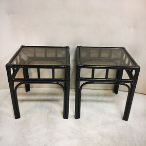 735: Pair of Black Lacquer Bamboo Chinoiserie Glass Top