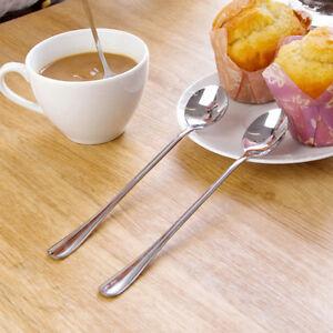New 2Pcs Stainless Steel Long Handle Ice Cream Dessert Cutlery Coffee Tea Spoons