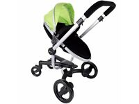 Green silvercross dolls pram inward and outward facing