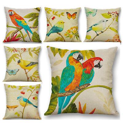 Parrot Bird Throw Ink Painting Sofa Decor Pillow Case Cotton Linen Cushion Cover