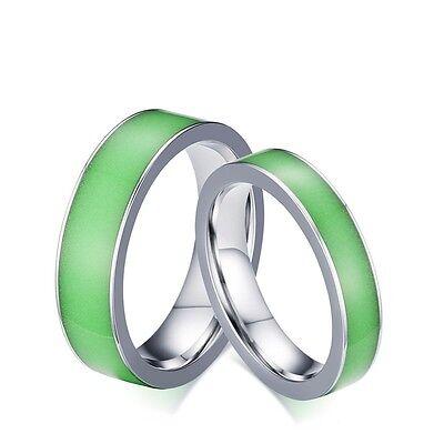Glow in the Dark Couple Rings Men/Women's Titanium Steel Wedding Engagement Band (Glow In The Dark Wedding Rings)