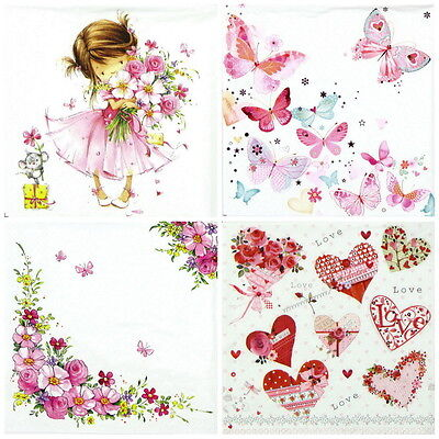 4x Single Lunch Party Paper Napkins for Decoupage Decopatch Craft Pink World Mix