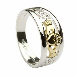 ... 10 carats Or Jaune Claddagh Irlandais Celtique 8mm Anneau Bague  eBay