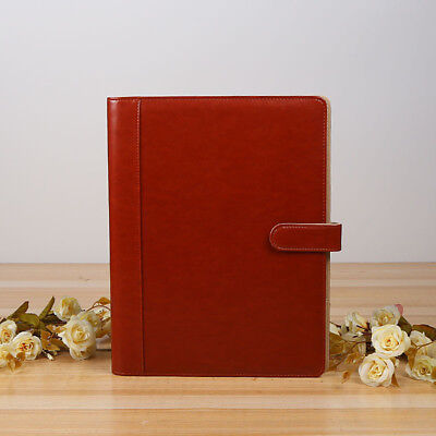 A4 Leather Look Conference Folder 2 Ring Binder Zipped Meeting Folio Note Pad