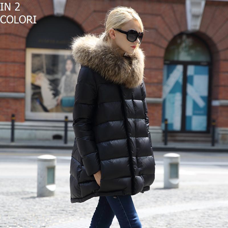 Piumino Pelliccia Donna Parka Cappotto Imbottito Giubbotto Invernale Moda K323B