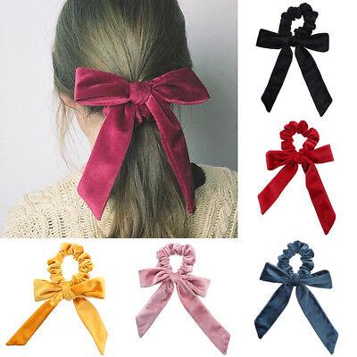 Women Girls Big Bow Velvet Elastic Hair Ropes Scrunchies Hair Ties Head - Big Headbands