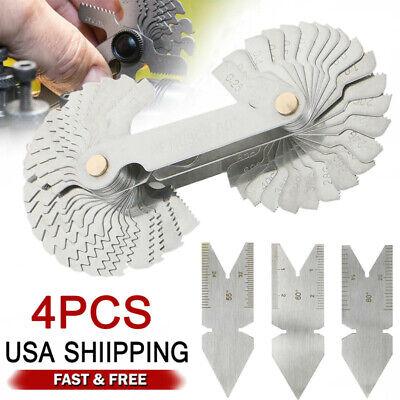 4pcs Screw Thread Cutting Gauge Tool Set Centre Gage 5560 Inch Metric Usa
