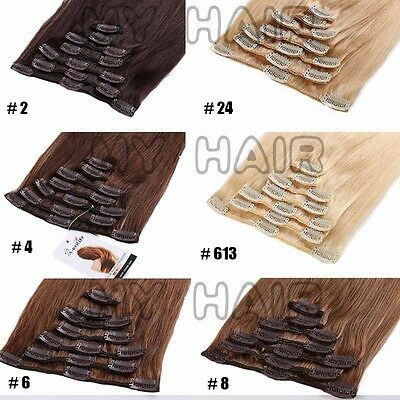 ✿ US Full Head Clip in Remy Human Hair Extensions ✿ 15-26 inch ON SALE