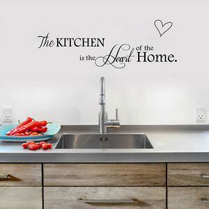 Kitchen-Heart-Wall-Stickers-PVC-Quote-Home-Mural-Art-DIY-Wall-Decals-Black