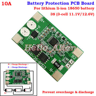 3S 10A 11.1V 12.6V Lithium Li-ion 18650 Battery BMS Protection PCB Circuit Board