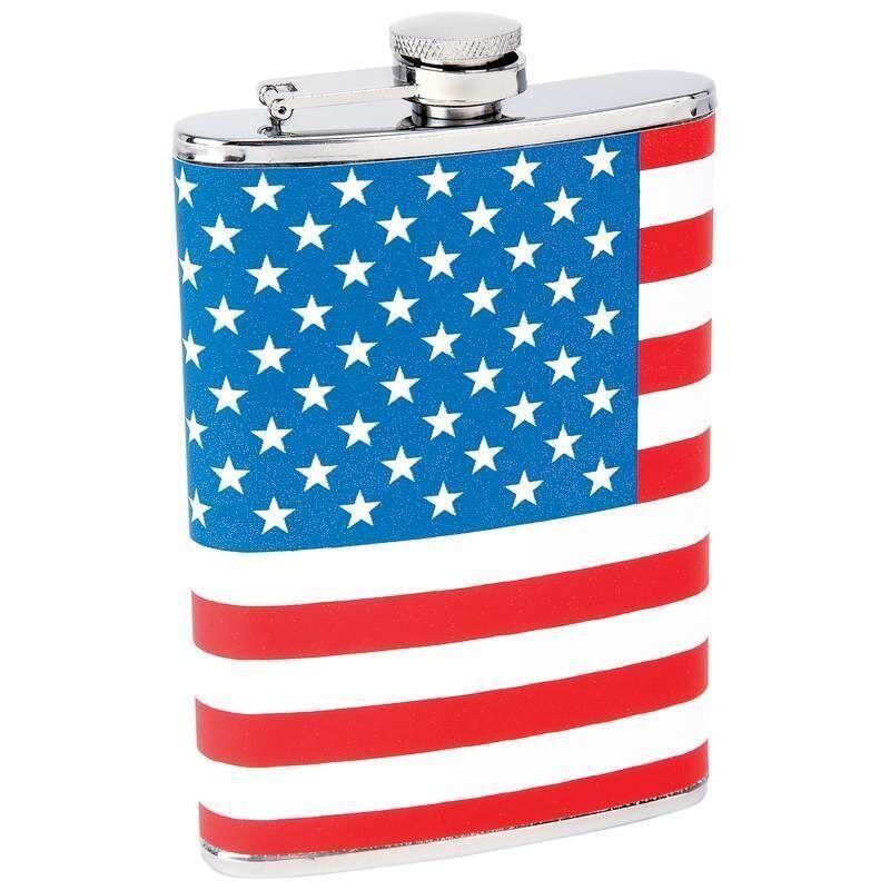 FLASK 8oz US AMERICAN FLAG Hip Stars & Stripes Pocket Liquor Alcohol Whiskey