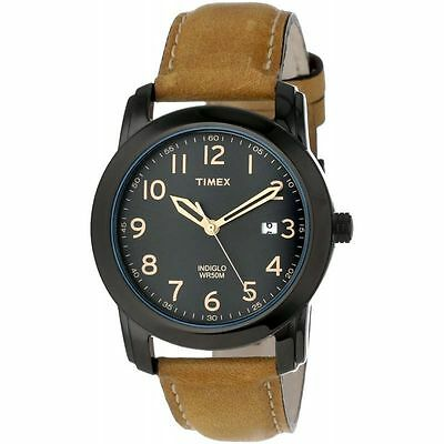 Timex T2P133, Men's Brown Leather Strap Watch, Indiglo, Date