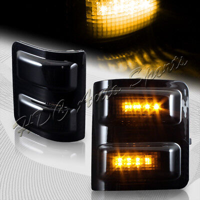 For 2008-2016 Ford Super duty Smoke Side Mirror Amber LED Running Signal Lights