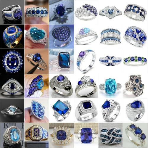 Fashion Blue Sapphire Women Wedding Engagement Ring 925 Silver Jewelry Size 6-13