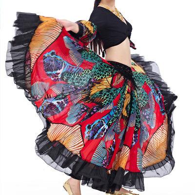 C228 Bauchtanz Kostüm Rock Flamenco Rock Tellerrock mit Schmetterling - Tanz Bauchtanz Kostüm