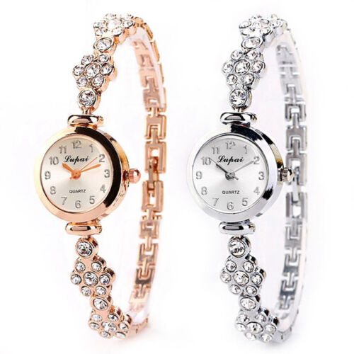 $2.92 - Fashion Women's Stainless Steel Crystal Dial Quartz Bracelet Luxury Wrist Watch